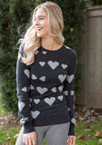 Fitted Cashmere Sweater - Charcoal Grey with Heart Pattern