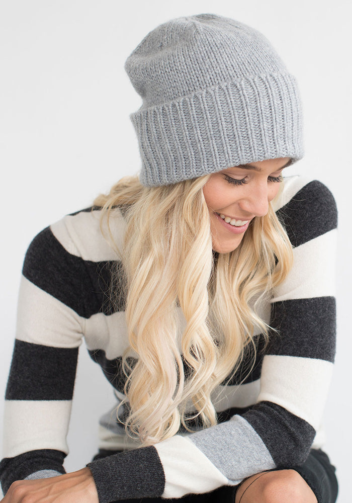 Heavy Ribbed Hat Light Grey - 100% Cashmere