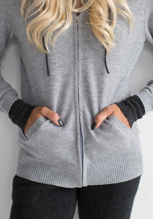 Cashmere Hooded Women's Zip Up Sweater - Light Grey