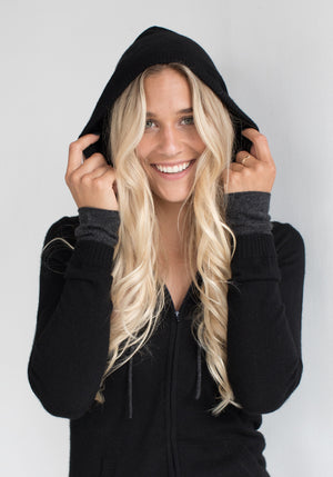 Cashmere Hoody with Zipper for Women in Black