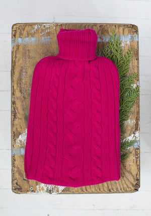 Cashmere Hot Water Bottle Cover in Bright Pink