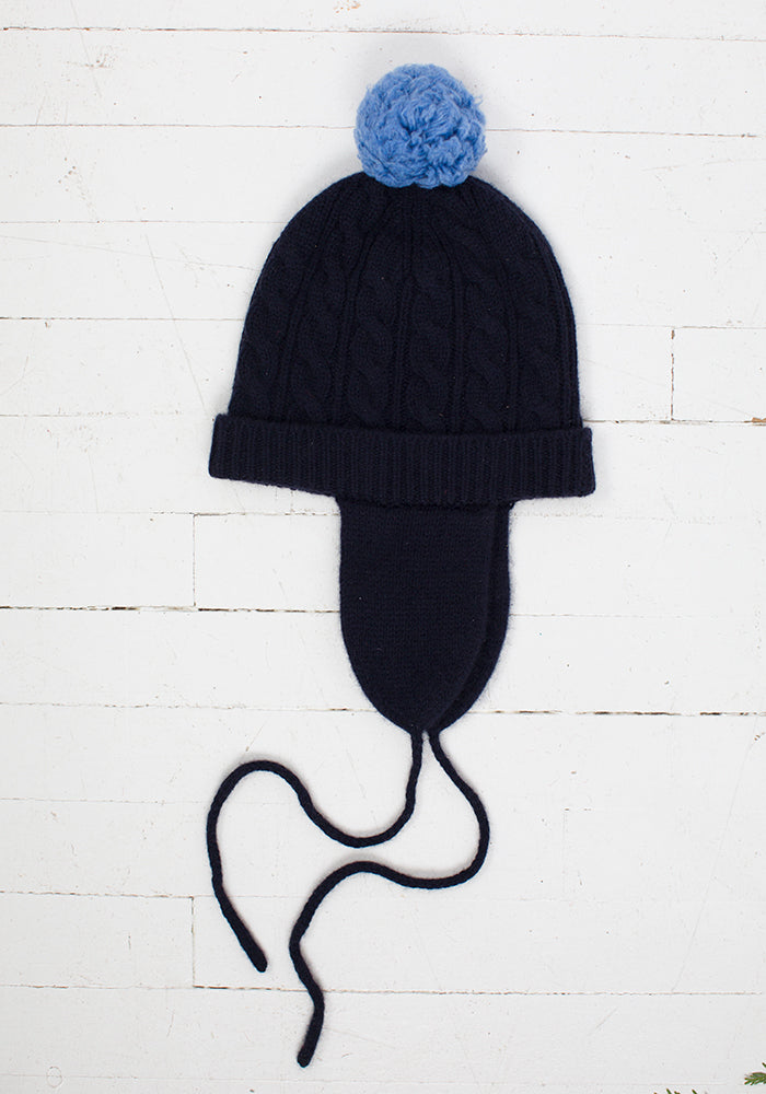 Kid's Cable Pom Pom Hat