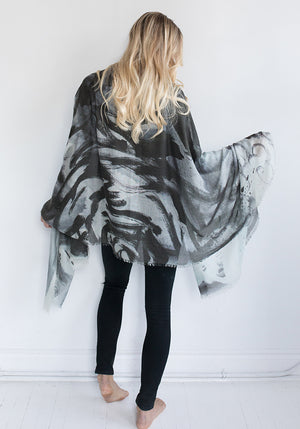 Cashmere and Silk Blended Scarf - Abstract Painting by Rundi - Black, Grey, White and Purple