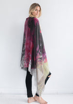 Cashmere & Silk Blended Scarf by Leo and Clive - Rundi Phelan Paintings - Red, Purple, Black, Yellow