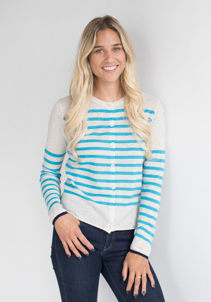 Lightweight Cardigan with Turquise Stripes -