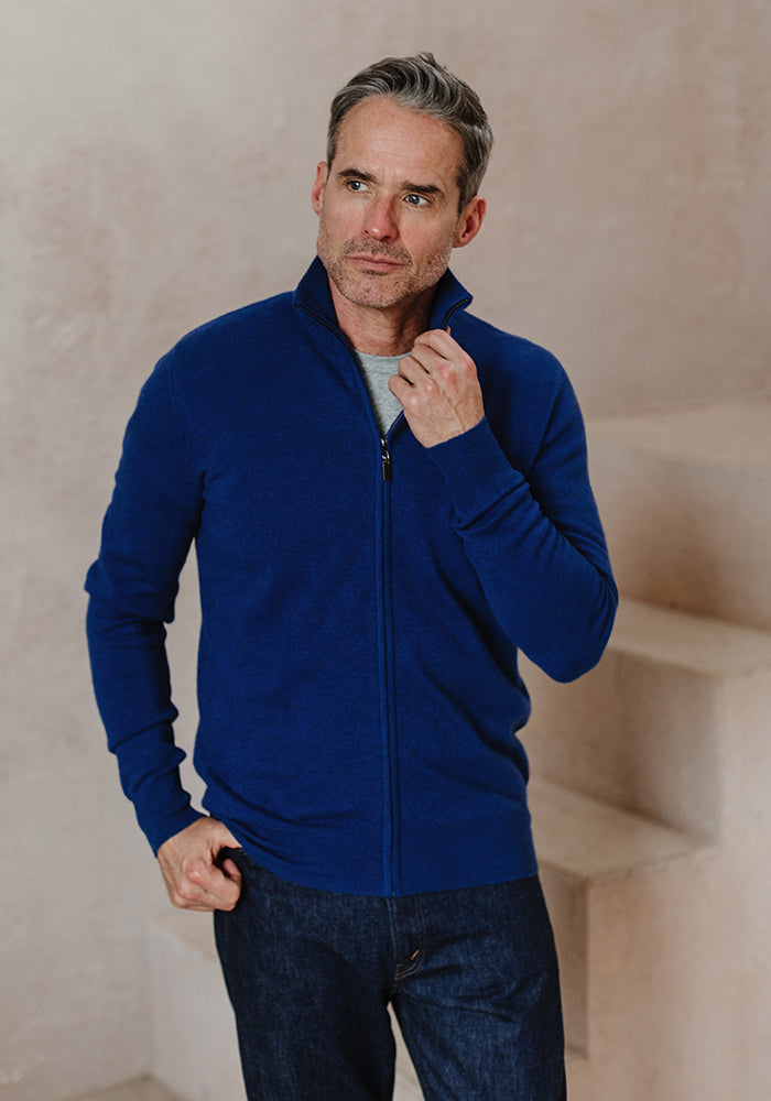Men's Full Zipper Blue
