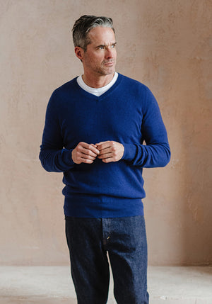 Men's Cashmere V-Neck, Royal Blue