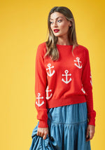 Mini Anchor Sweater, O/S, Red