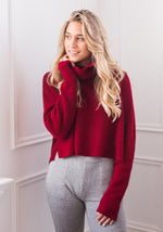 BOYFRIEND RIBBED CROPPED COWL WARM RED