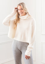 BOYFRIEND RIBBED CROPPED COWL WHITE