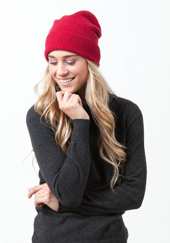 Classic Hat, 100% Cashmere in Red - Winter Accessories