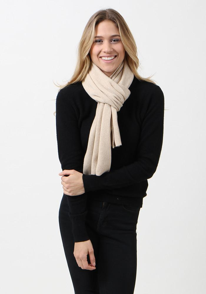 100% Cashmere Ribbed Classic Scarf by The Cashmere Shop - Natural