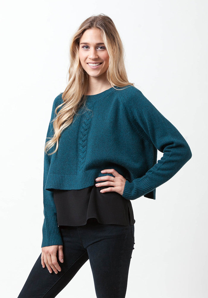 Cropped Round Neck With Cable - The Cashmere Shop  - 1