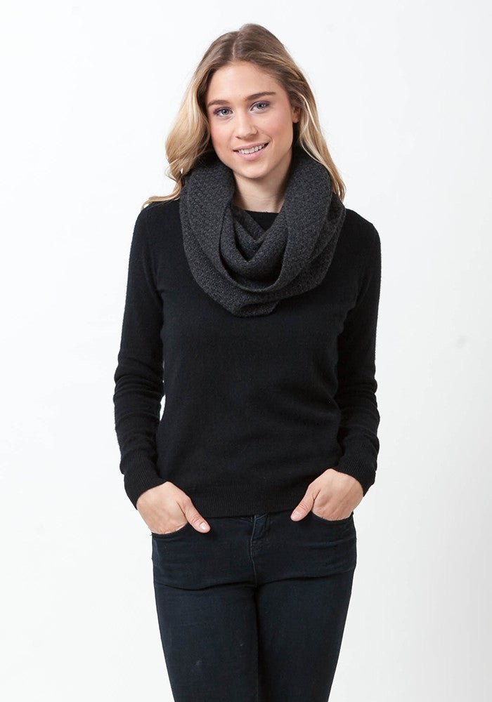 Cashmere Textured Snood - The Cashmere Shop  - 1