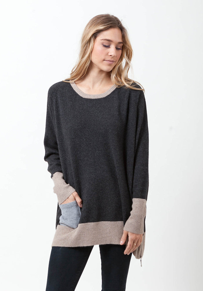Cashmere Colour Block Boyfriend with Zippers - The Cashmere Shop  - 1