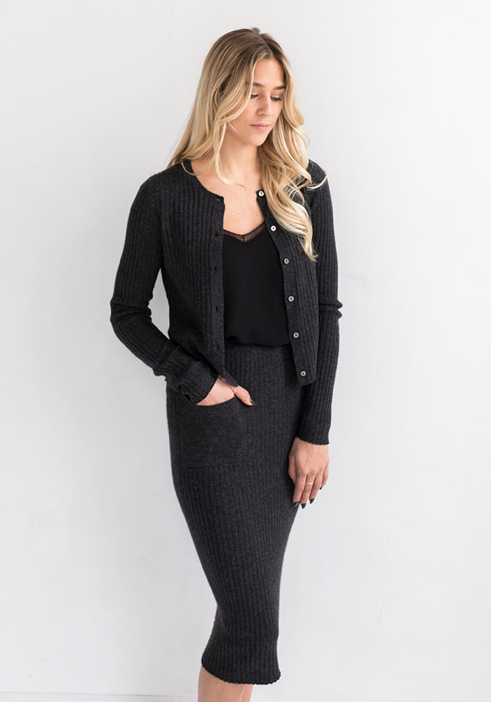 Cashmere Ribbed Pencil Skirt - Fitted in Black - Made in Mongolia