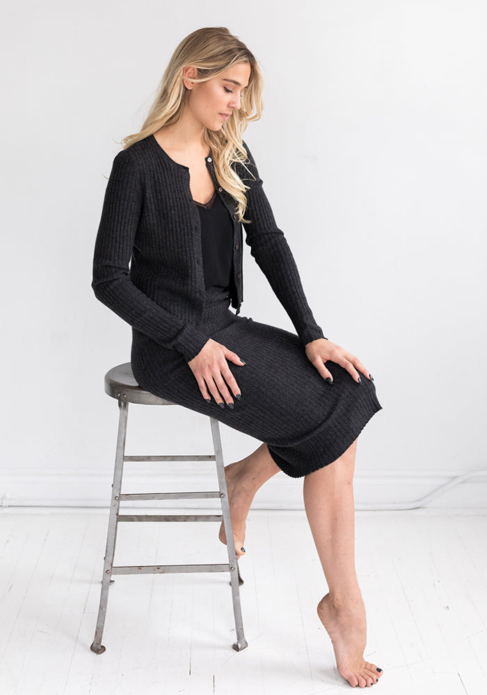 Cashmere Ribbed Pencil Skirt - Fitted in Charcoal Grey - Made in Mongolia