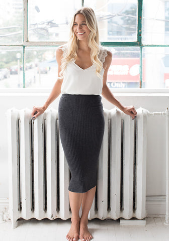 Cashmere Ribbed Pencil Skirt