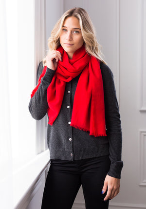 FEATHER WEIGHT WOVEN SCARF - RED