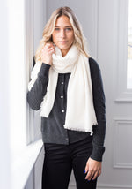 FEATHER WEIGHT WOVEN SCARF - WHITE