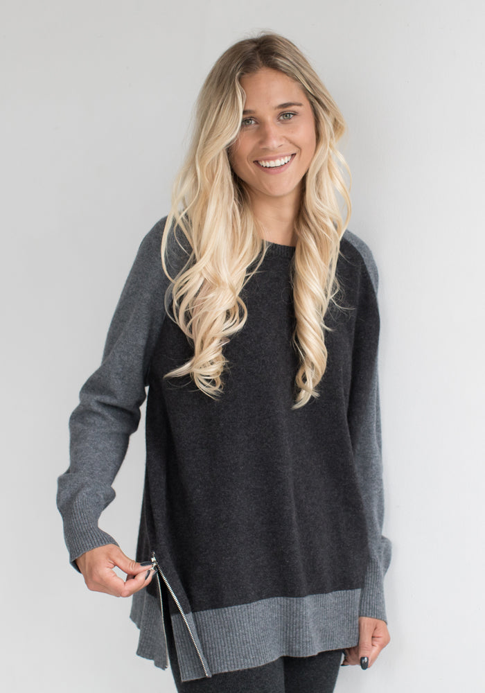 Cashmere Boyfriend Zipper Sweater