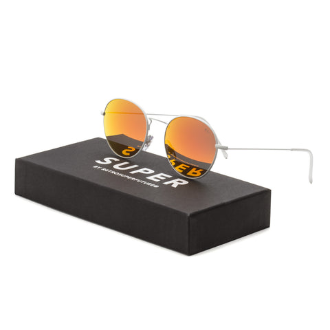 RETROSUPERFUTURE Super 504 Wire Reflector Blaze Sunglasses Matte White / Orange Mirror