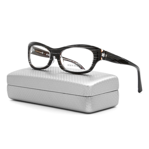 Alain Mikli AL 1010 Eyeglasses B0D6 Striated Brown Grey Frame / RX Clear Lenses