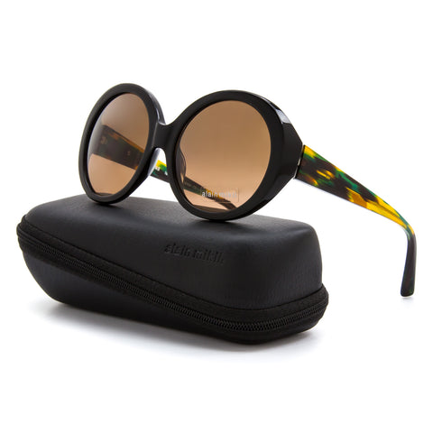 Alain Mikli AL 1409 Womens Sunglasses A038 Black Yellow Green Frame Brown Lenses