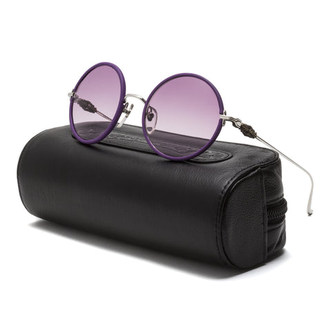Chrome Hearts Ovaryeasy Sunglasses Silver Violet Leather / Purple Gradient Lens