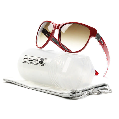 ic! Berlin Dr. Ihab Sunglasses Col. Red with Brown Gradient Lenses