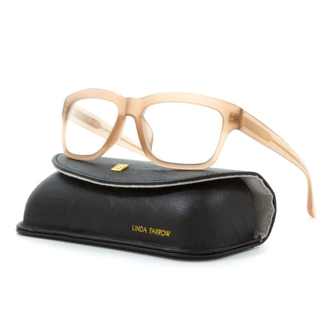 Linda Farrow Luxe 329 Rectangular Eyeglasses C3 Transparent Mink / RX Clear Lens