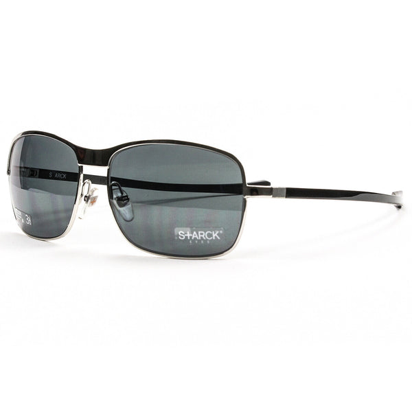 Starck Eyes Sunglasses PL 1032 0221 Silver & Black with Grey Polarized Lenses