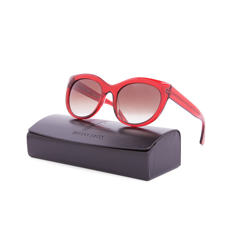 Thierry Lasry Suggesty Sunglasses 954 Translucent Red Frame / Grey Gradient