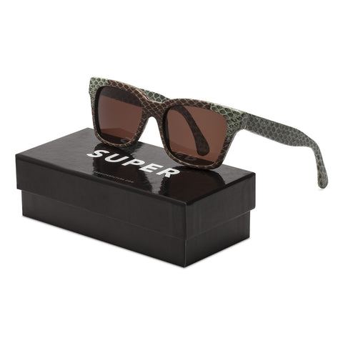 RETROSUPERFUTURE Super America Salmagundi Sunglasses 923 Green Brown Snake Skin