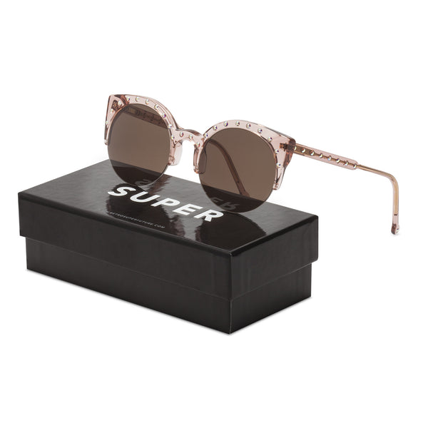 Super Lucia Vixen Sunglasses by Retrosuperfuture SUSYP Pink / Brown Zeiss Lenses