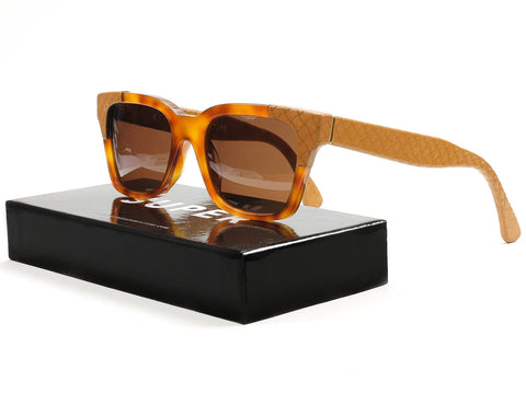 RETROSUPERFUTURE Super America Cuoio Sunglasses Havana Brown Leather Zeiss Lens