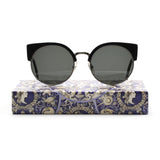 RETROSUPERFUTURE Ilaria Womens Sunglasses SU932 Black Cobalt Blue Maiolica Print