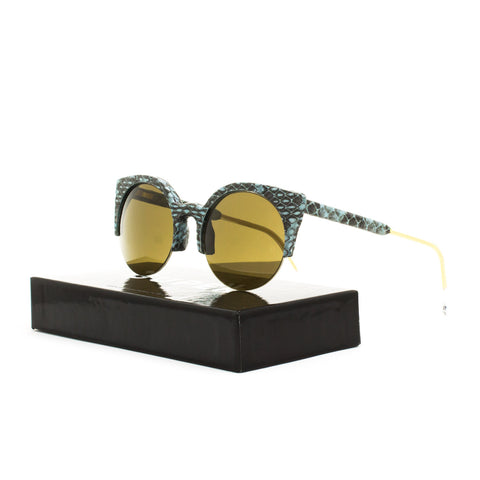 RETROSUPERFUTURE Super Lucia Bomb Sunglasses SUW39 Blue Snake Skin / Brown Lens