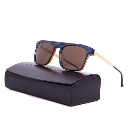 Thierry Lasry Kendry Sunglasses V158 Vintage Blue & Gold / Brown