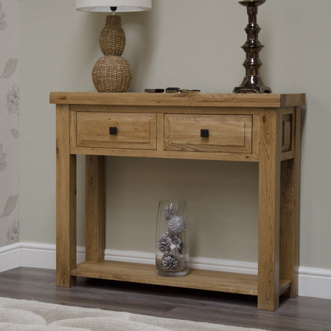 Deluxe Rustic Oak Console Table