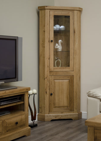 Deluxe Rustic Oak Corner Display Unit