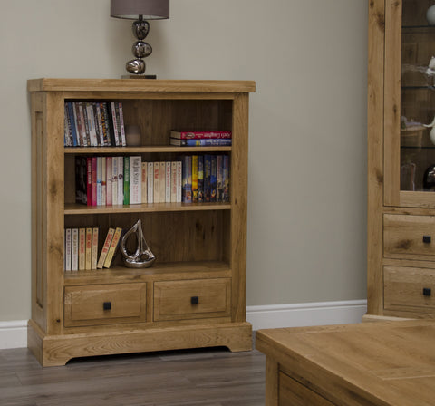 Deluxe Rustic Oak Small Bookcase
