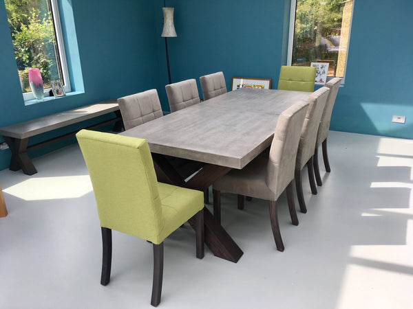 Polished concrete extending dining table bespoke