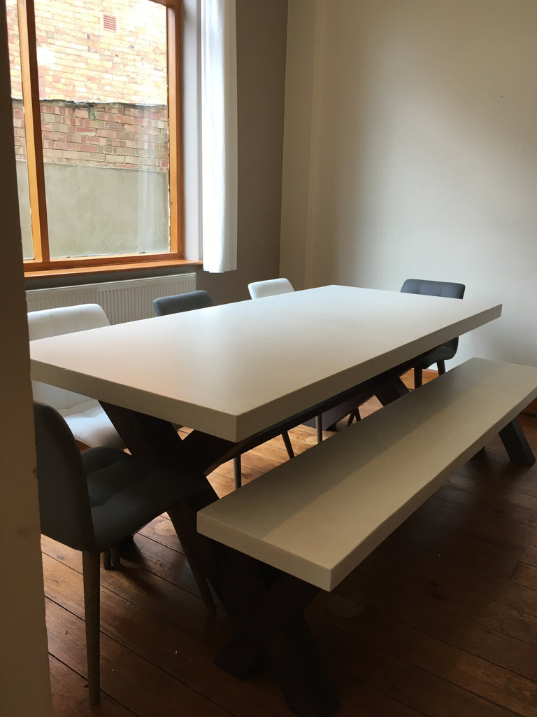 Polished concrete extending dining table9