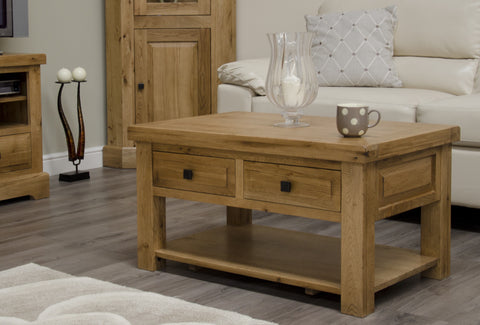 Deluxe Rustic Oak 3' x 2' Coffee Table