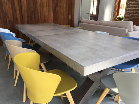 Beton Cm X Leg Polished Concrete Extending Dining Table Woodstock - Extendable concrete dining table