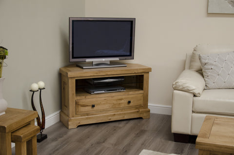 Deluxe Rustic Oak Corner TV Unit