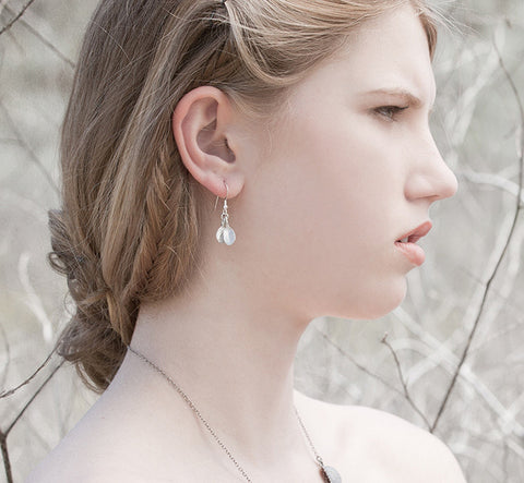 Marjoram Earrings - Bright Silver