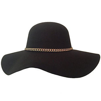 Black Floppy Hat with Gold Chain