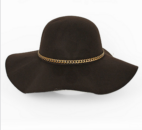 Brown Floppy Hat with Gold Chain